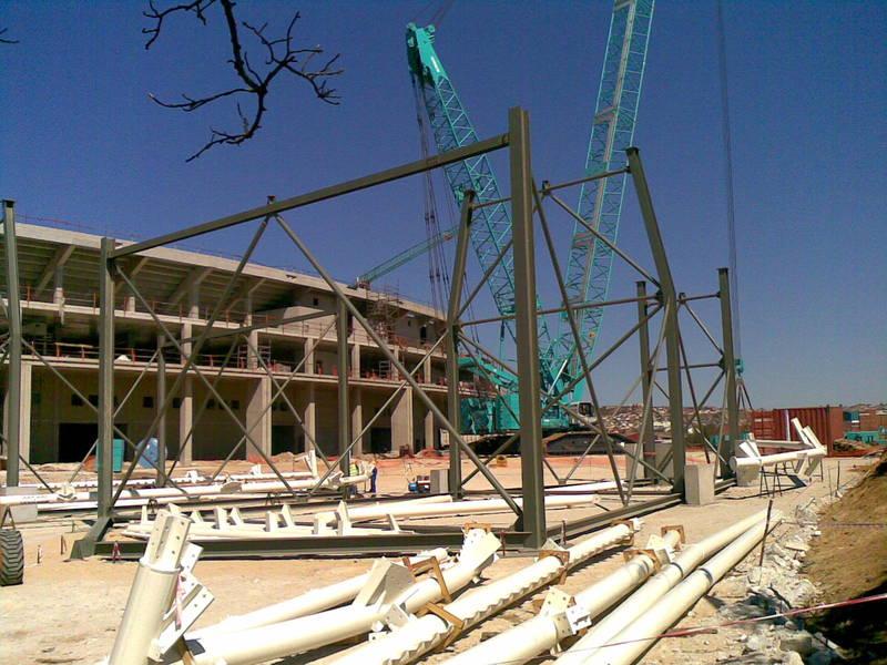 Truss assembly jig for Moses Mabida Stadium in Port Elizabeth